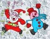 Santa Claus y muñeco de nieve saltando