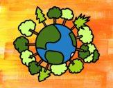 Dibujo Planeta tierra con árboles pintado por ZASCUACH