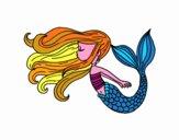 Dibujo Sirena flotando pintado por narratorco