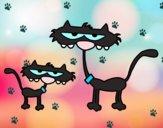 Dibujo Gatos: Padre e hijo pintado por teuQihcoX