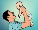 Dibujo Padre y bebé pintado por queyla