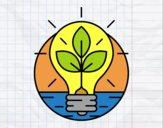 Dibujo Bombilla con hojas  pintado por fabianny