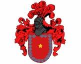 Dibujo Escudo de armas y casco pintado por kevin4