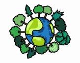 Dibujo Planeta tierra con árboles pintado por acarocr