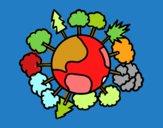 Dibujo Planeta tierra con árboles pintado por marga2016