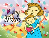 Dibujo Quiero a mi mamá pintado por Cutie
