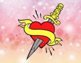 Dibujo Tatuaje de corazón y puñal pintado por 123myi