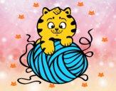 Dibujo Gato con ovillo de lana pintado por  saloforer