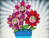 Dibujo Maceta de flores pintado por Pillina