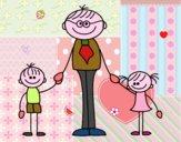 Padre con sus hijos
