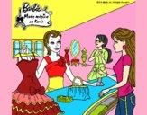 Barbie en una tienda de ropa