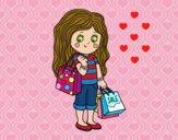 Dibujo Niña con compras de verano pintado por queyla