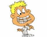 Niño con aparato dental