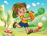 Dibujo Niño jugando con balón de playa pintado por queyla