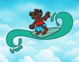Dibujo Perro surfeando pintado por BERECHAPIS