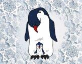 Dibujo Pingüino con su cría pintado por queyla