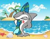 Dibujo Tiburón surfero pintado por BERECHAPIS
