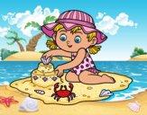 Dibujo Una niña jugando en la playa pintado por queyla