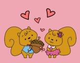 Dibujo Ardillas enamoradas pintado por mangli