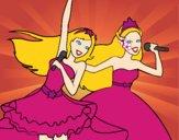 Barbie y la princesa cantando