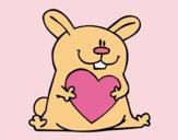 Dibujo Conejo con corazón pintado por mangli