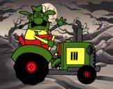 Dibujo Granjero en su tractor pintado por Amancay99