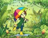 Dibujo Niña con paraguas bajo la lluvia pintado por Aura05