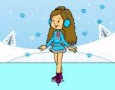 Niña patinadora sobre hielo