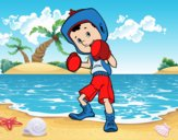 Dibujo Niño boxeador pintado por queyla