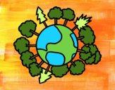 Planeta tierra con árboles