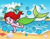 Dibujo Sirena del mar pintado por vicky09