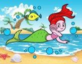 Dibujo Sirena mágica pintado por vicky09