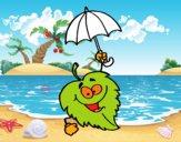 Hoja con paraguas