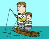 Padre e hijo pescando