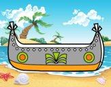 Dibujo Barco de indios pintado por Josuecito