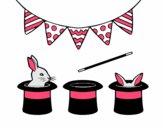 Dibujo Conejos y chisteras pintado por Lucchii