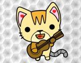 Dibujo Gato guitarrista pintado por jenniferca