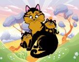 Dibujo Mamá gata y gatitos pintado por matimanent