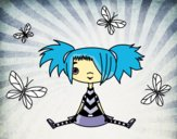 Dibujo Niña con mariposas pintado por annie9000