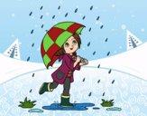 Dibujo Niña con paraguas bajo la lluvia pintado por solange040
