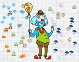 Dibujo Payaso y globo pintado por teox