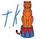 Dibujo Tigre de circo pintado por teox