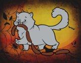 Gato con salchichas