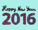 Dibujo Happy New Year 2016 pintado por mangli