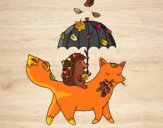 Dibujo Los animales y el otoño pintado por annie9000