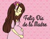 Dibujo Mamá embarazada en el día de la madre pintado por LunaLunita
