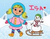 Niña con trineo y muñeco de nieve
