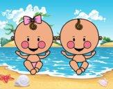 Dibujo Niño y niña gemelos pintado por queyla