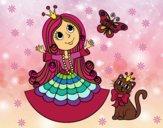 Dibujo Princesa con gato y mariposa pintado por cmla