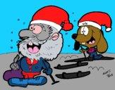 Renato esquiando y Papá Noel